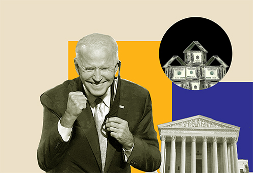 Smiling president Biden, illustration of bank and houses built from banknotes on the background.