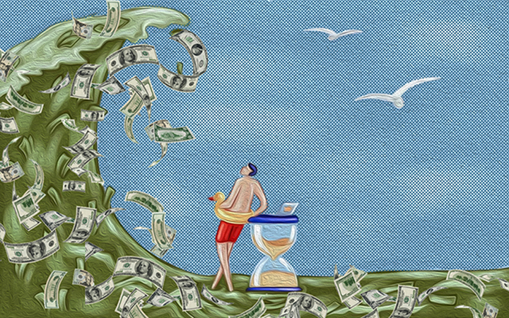 A man leaning against the hourglass looks as a huge wave of money is approaching him.