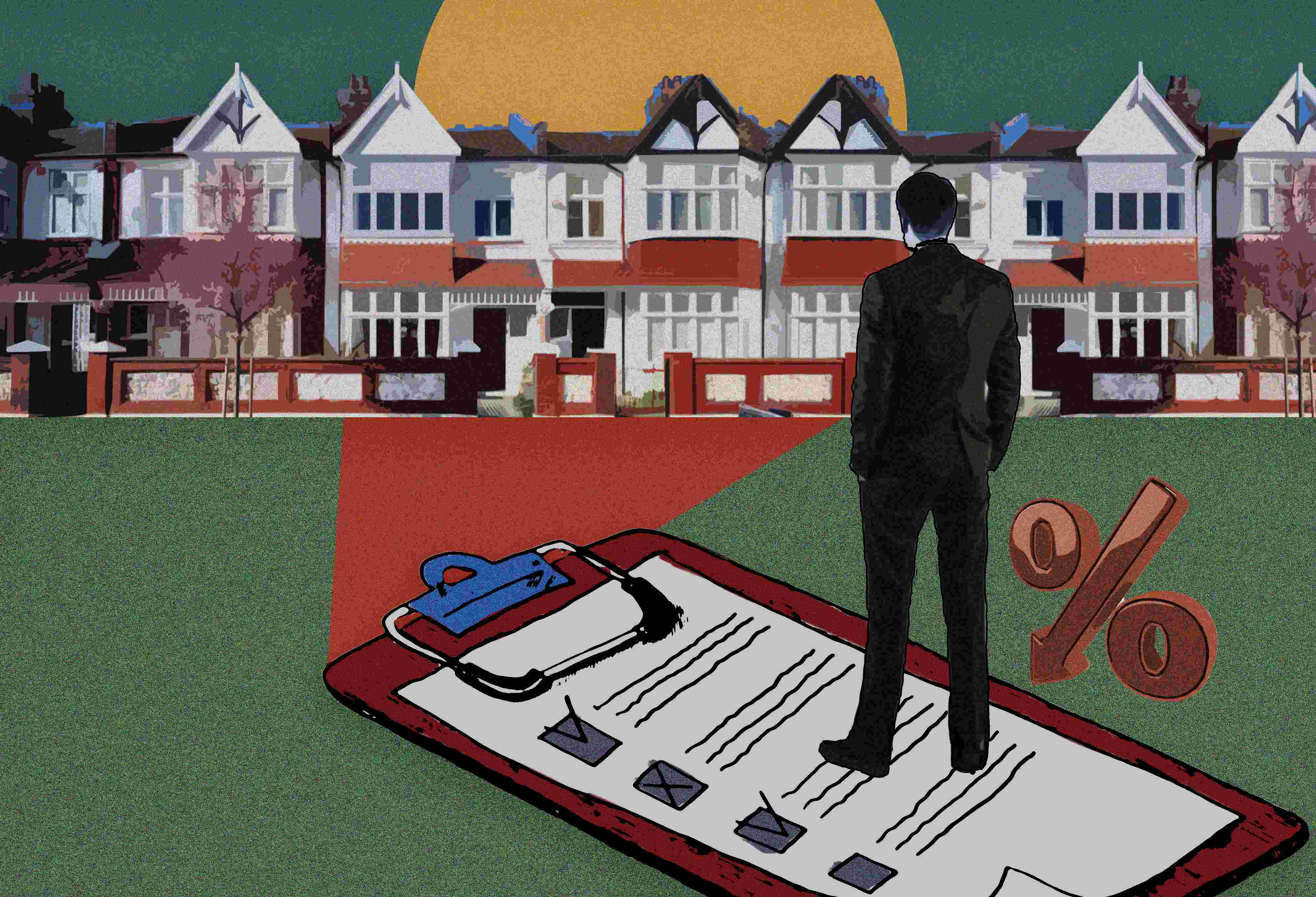 A man standing on a huge mortgage document and looking at the houses infront of him.