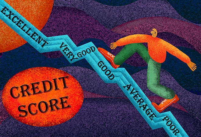 A man climbing a credit rating growth graph while thinking about buying a car with no credit.