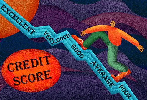 A man climbing a credit rating growth graph.
