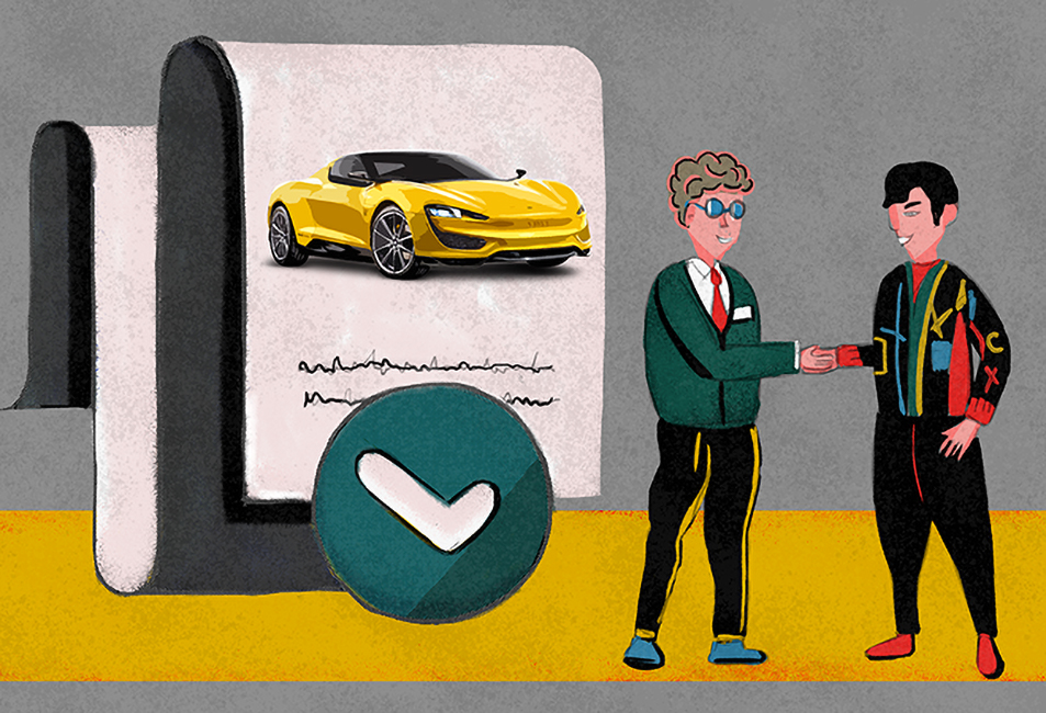 Two men shaking hands. A document with a drawn car on the background.