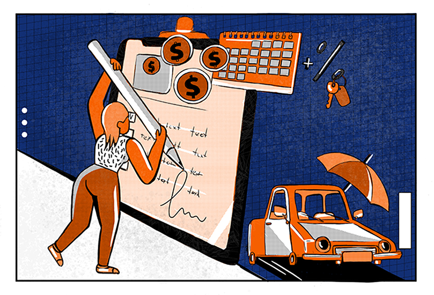 An illustration of a woman signing a loan agreement after understanding how does financing a car work