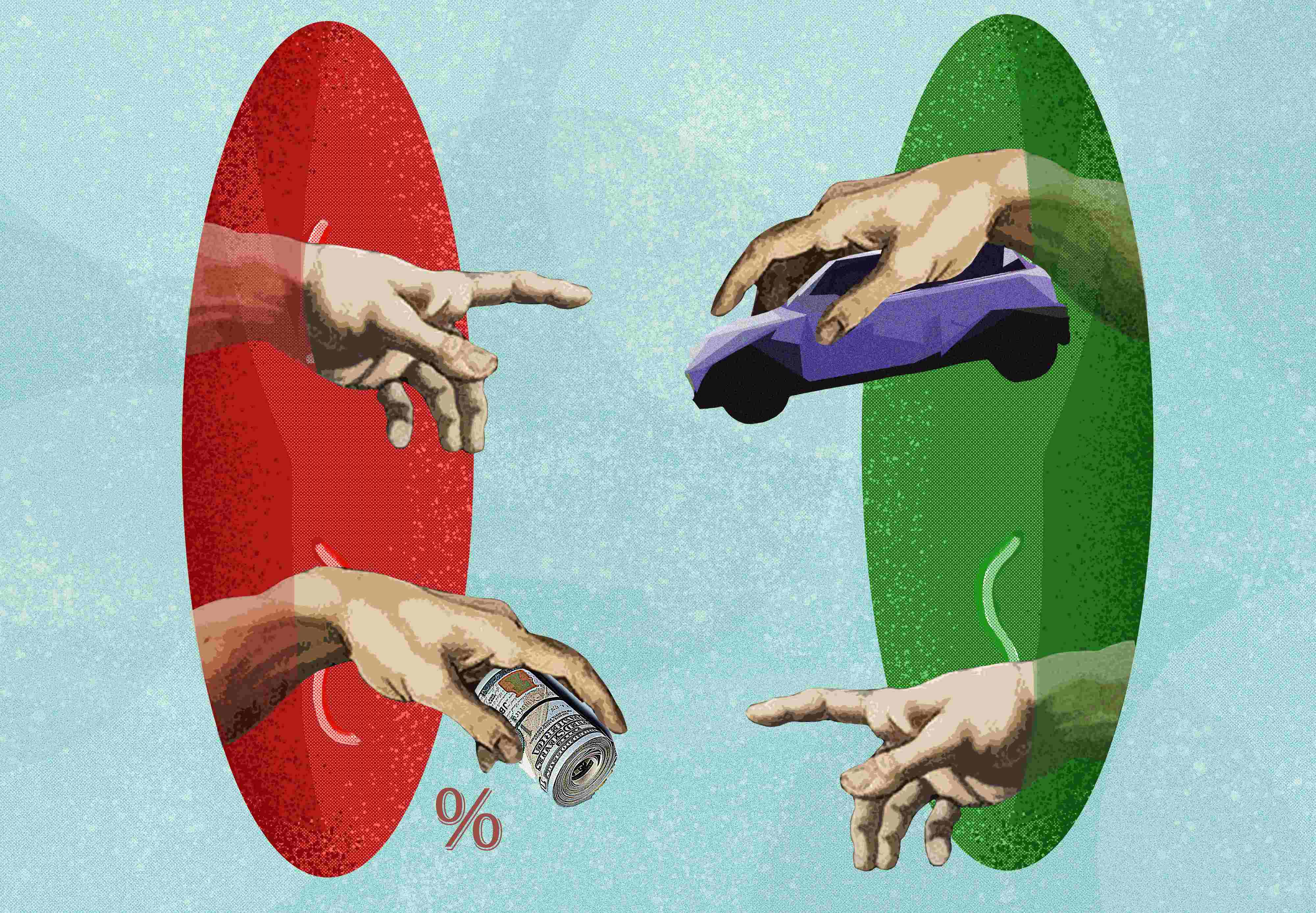 One pair of hands on the right gives the car and takes the money, other pair of hands on the left gives the money and takes the car.